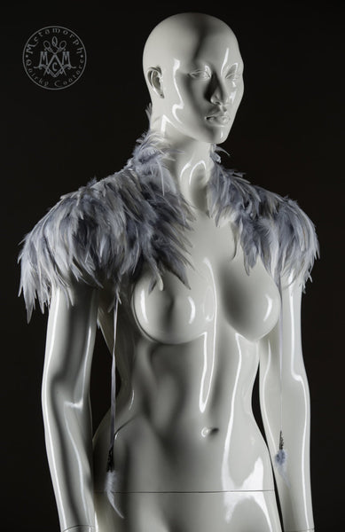 Grey and white feather Shoulder piece Feather shrug High collar feather shoulder wrap Edgy fashion shoulder feather accessories Burning Man