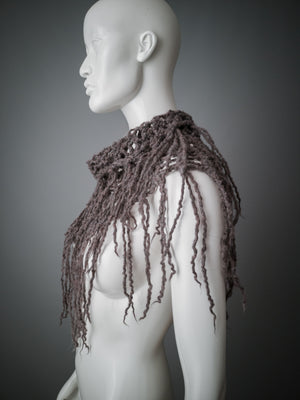 Distressed cowl of gray wool / Chunky knit and felt fringe collar / Deconstructed knit cowl / Strega neck warmer / Psy collar / Burning man cowl / Mori scarf