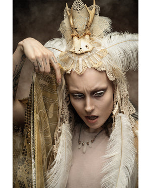 Pagan wedding deer skull headdress / Off white antler headdress with ostrich feathers, cotton veil, vintage lace, yak hair fringe / OOAK