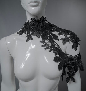 Asymmetric black off shoulder lace collar / Flower shoulder piece / Lace body cage