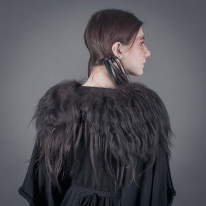Wool fur collar / Shoulder cape of organic Icelandic longhaired sheep fleece and real human hair / Valkyrie fur cape