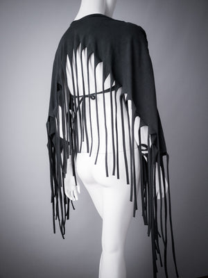 Fringe poncho wrap top / Black braided jersey fringe shrug / Multifunctional distressed cotton top / Strega shrug / Burning man top