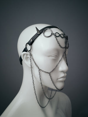 Third eye face chain mask / Gunmetal chain face harness