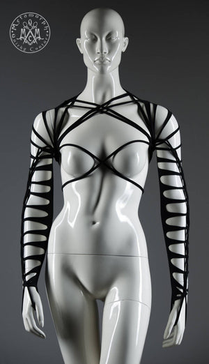 Shredded sleeves with elastic chest harness / Psy arm warmers / Black burning man shrug