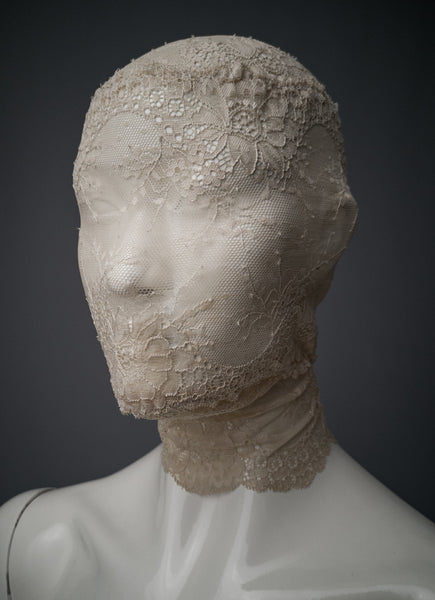 Off white zentai mask / Full face lace mask / Fetish lace mask / Lace gimp mask / Masquerade lace veil / Bdsm lace mask