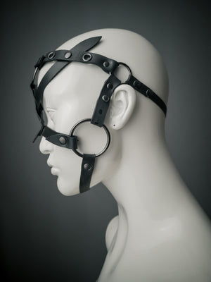 Rubber face harness with gunmetal o rings / Upcycled rubber pony play head harness