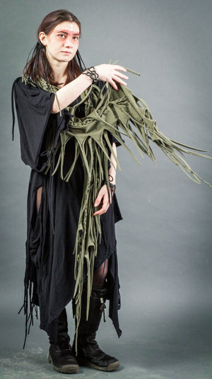 Army green braided scarf / Cut out cotton fringe scarf / Woodland cowl / Olive green psy scarf / Burning man cowl