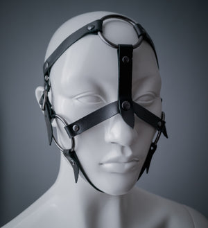 Black leather face harness with gunmetal o rings / Pony play head harness / Bdsm face harness