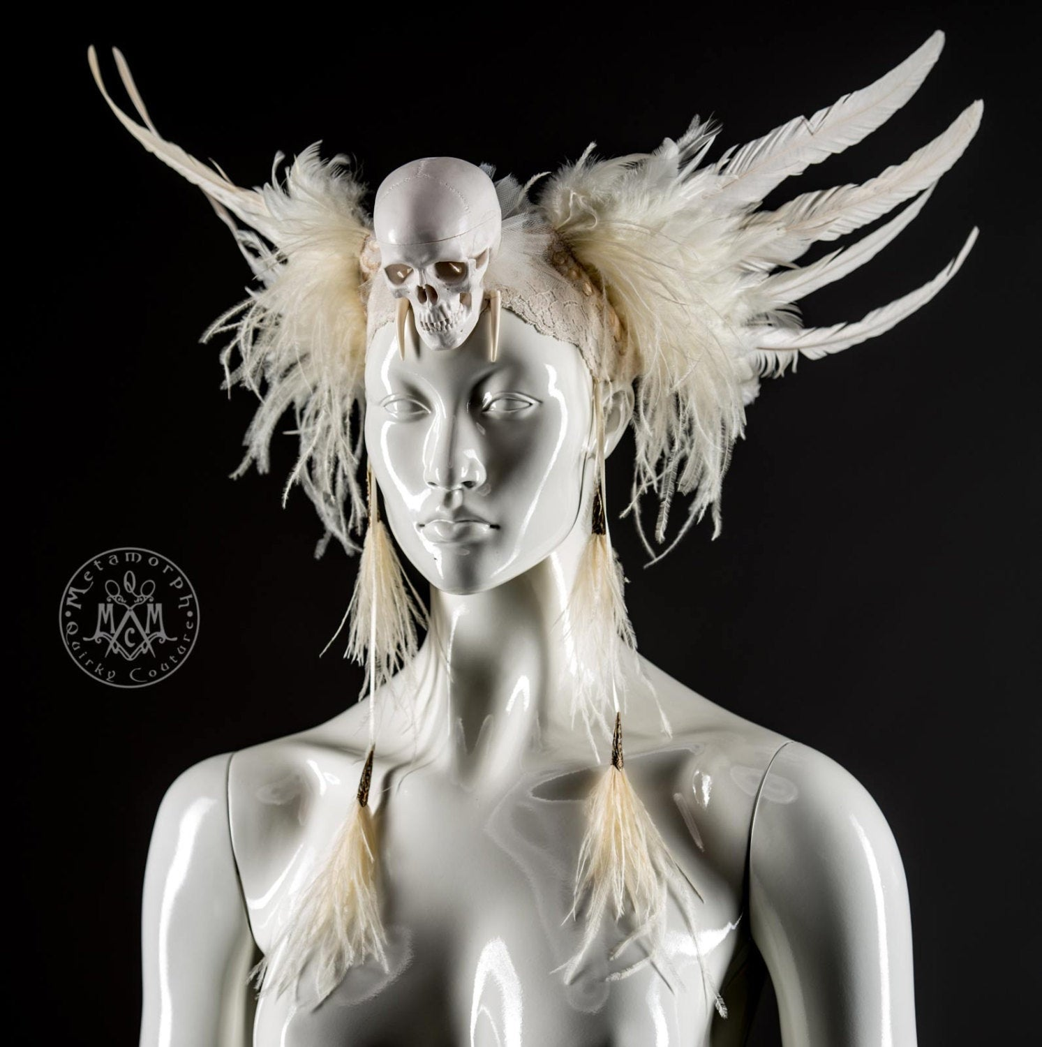 White day of the dead headpiece with human skull and feathers / Ivory rooster feather headdress with ostrich fringe / Skull headdress