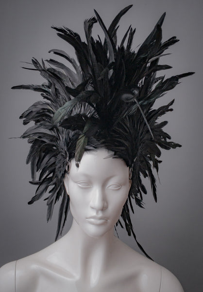 Black feather Mohawk style headdress with gunmetal o rings