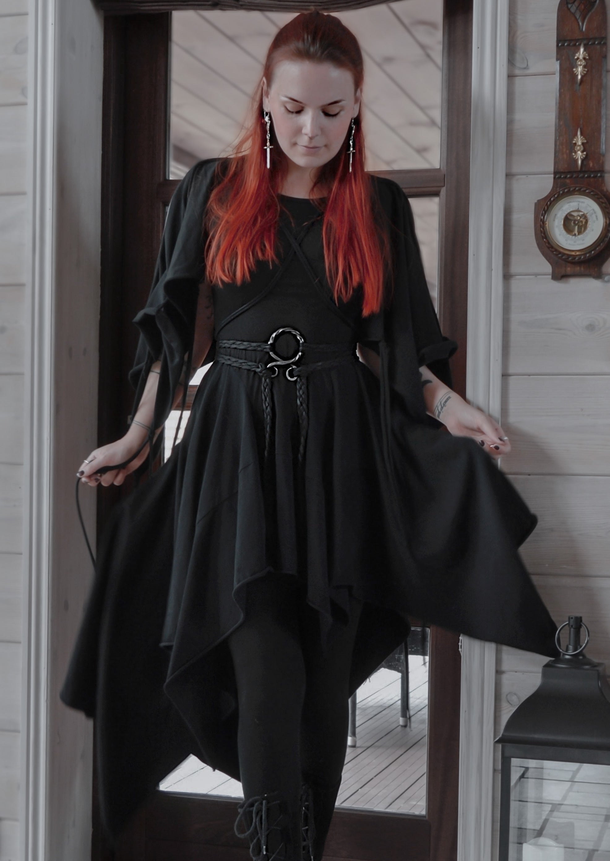 Dark mori dress / Black cotton jersey asymmetric strega dress with kimono type sleeves / Multifunctional cowl dress