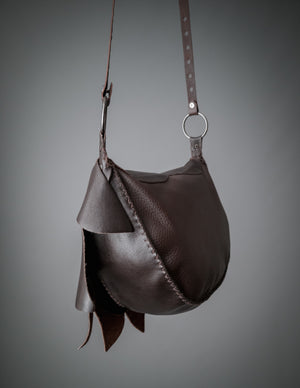 Pixie leather bag / Dark brown hand sewn satchel bag or belt bag made of recycled leather / Lotus leather bag / Psy festival bag