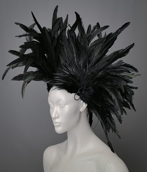 Black feather Mohawk style headdress with gunmetal o rings / Wasteland headdress / Rooster feather Mohawk