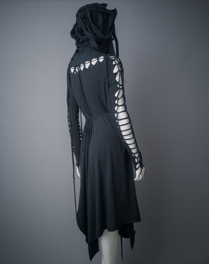Strega hood dress / Black asymmetric cotton dress with braided details, belt and layered hood / Dark mori dress / Dystopian cowl dress