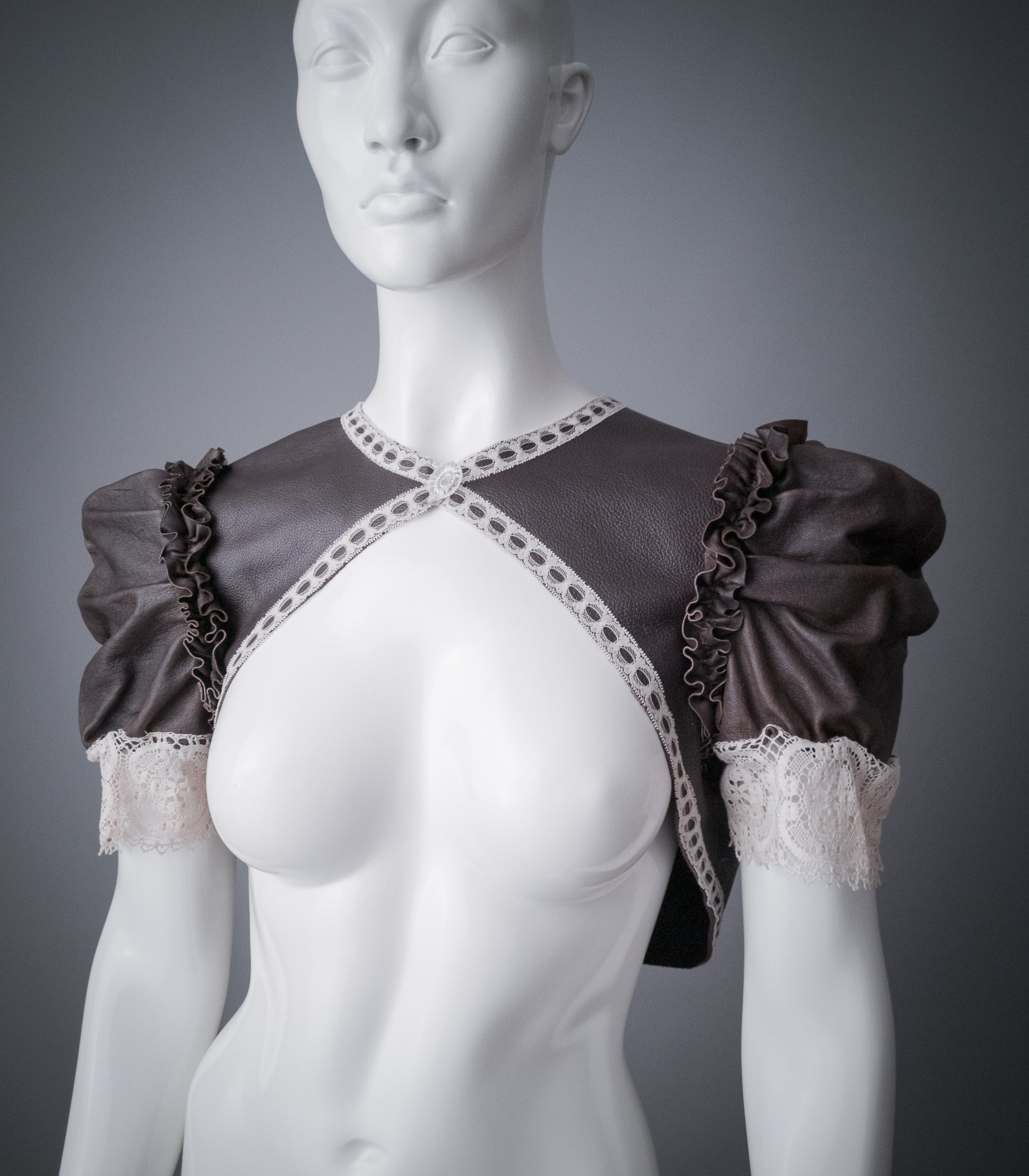 Steampunk leather shrug / Dark brown leather bolero with ivory vintage lace and puff sleeves / Steampunk wedding shrug / ooak bolero