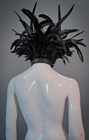 Strega feather collar / Black tall rooster feather collar / Evil queen tall collar / WGT collar