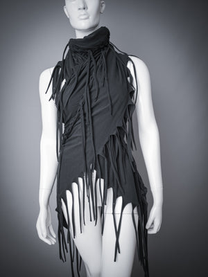 Strega body wrap shawl / Huge black fringe stole / Chunky braided jersey scarf / Cut out cotton fringe stole / Fringe body wrap shawl / Dystopian cowl / Dark mori body scarf