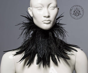 Black ostrich feather collar / Strega high collar with ostrich and chicken feather fringe / Burlesque fringe collar / Gothic feather choker / WGT collar