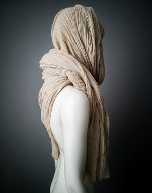 Gauze shawl wrap shrug / Sandy beige tea dyed cotton asymmetric half shrug stole / Oversized crepe head scarf / Hood cowl mori shawl / OOAK