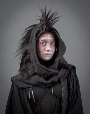 Mohawk hood / Black dystopian cowl with layered scarf and real human hair / Mad max hooded cowl / Reaper hood / Wasteland Mohawk / Halloween Hood