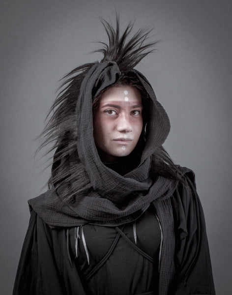 Black Mohawk hood / Mad Max cowl with layered scarf