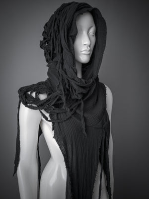 Dystopian distressed cowl / Black asymmetric cotton half vest with layered hood / Wasteland hood / Avant-garde hooded cowl / Ooak cowl