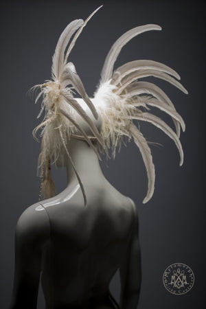 Ivory and gold beaded bridal headdress with ostrich fringe and peacock tassels / White and gold wedding feather headdress