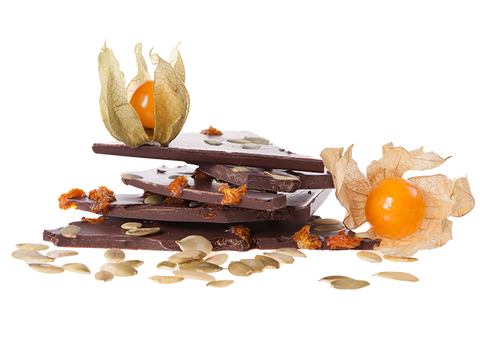 Organic Physalis & Pumpkinseeds Handbroken Chocolate