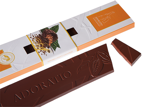 Organic Caramelised Cocoa Nibs Chocolate Bar