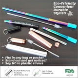 Collapsible Stainless Steel Straws Trio - Chocolate & More Delights