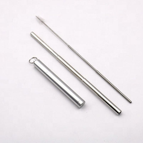 Collapsible Stainless Steel Metal Straw Silver - Chocolate & More Delights