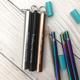 Collapsible Stainless Steel Metal Straw Rose Gold - Chocolate & More Delights