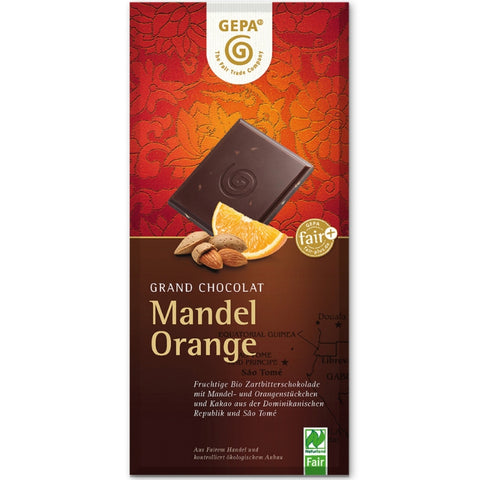 Gepa Fair Trade Dark Chocolate Almond Orange - Chocolate & More Delights