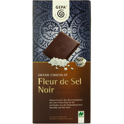 Gepa Fair Trade Chocolate Fleur de Sel Noir - Chocolate & More Delights