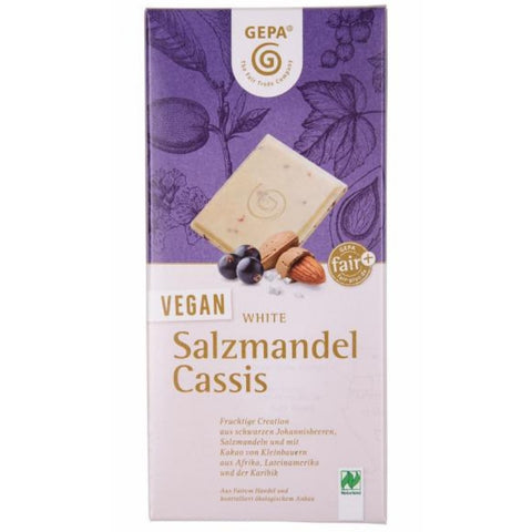 Gepa Vegan White Chocolate Salty Almonds Cassis