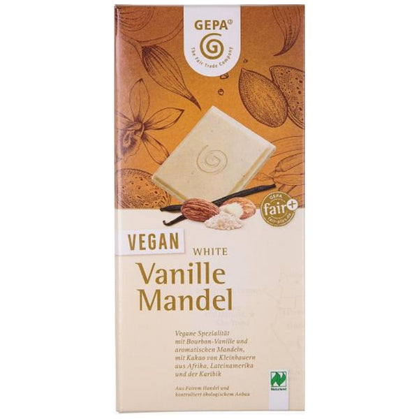 Vegan White Chocolate Vanilla Almond - Chocolate & More Delights