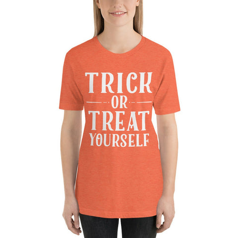Halloween - Trick Or Treat Yourself - Short Sleeve Unisex T-Shirt - Chocolate & More Delights