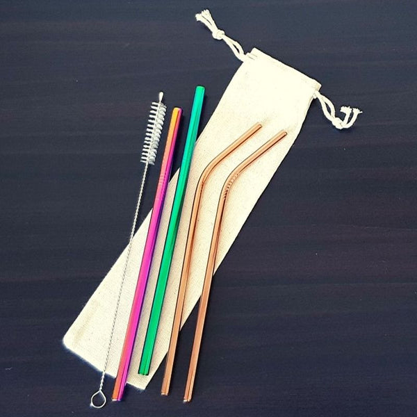 Stainless Steel Reusable Rainbow Straw Set - Chocolate & More Delights