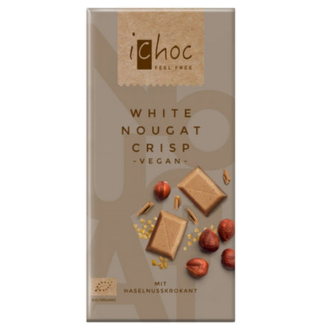 iChoc Vegan Chocolate White Nougat Crisp - Chocolate & More Delights