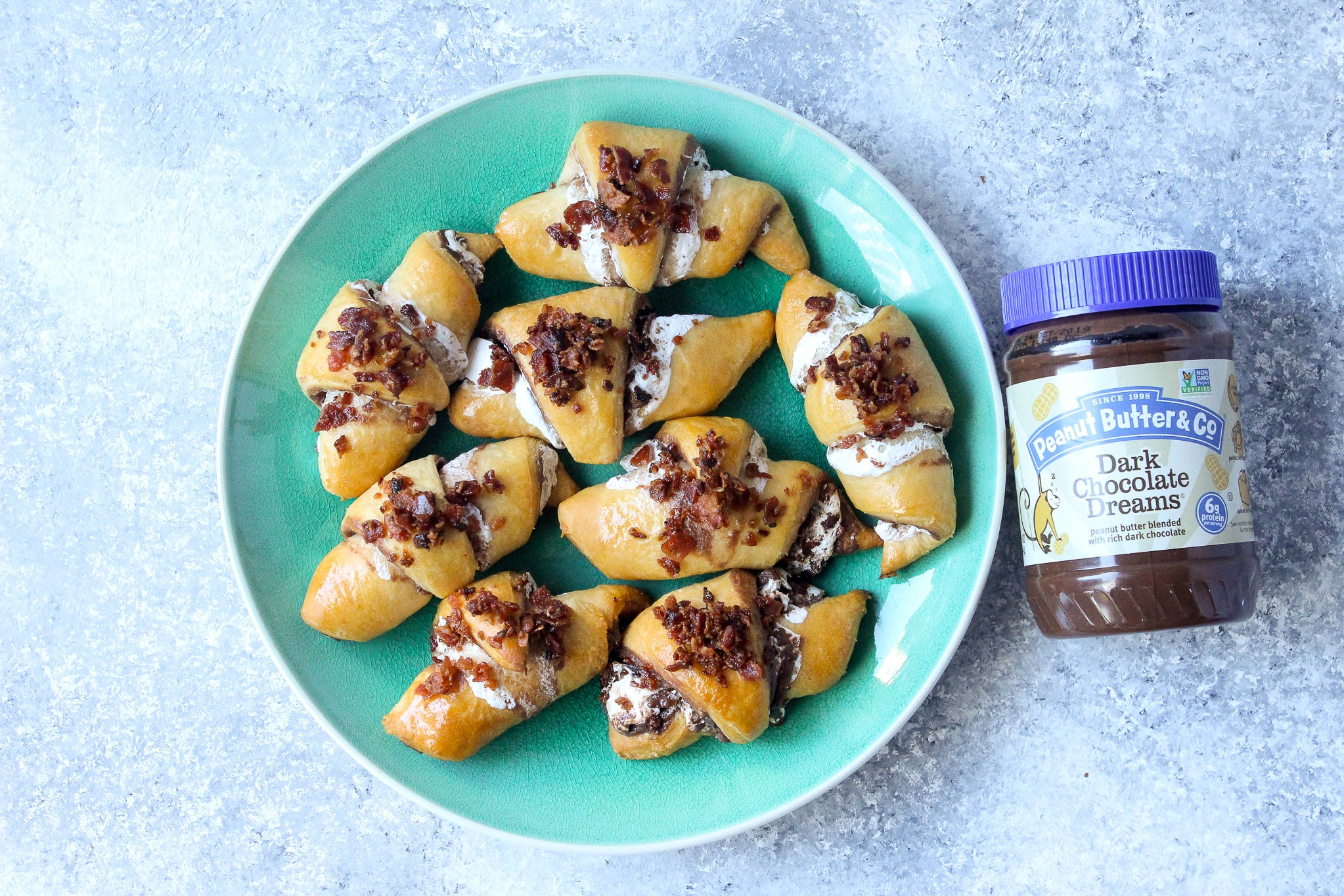 Dark Chocolate Peanut Butter Crescents with Marshmallow & Bacon