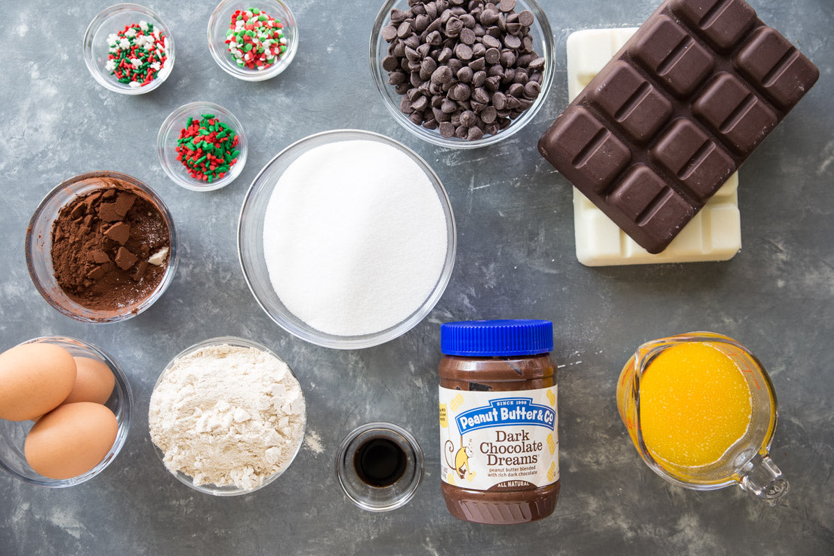 dark chocolate holiday brownies ingredients