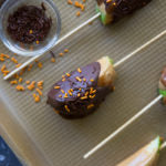 peanut butter candy apple slices - chocolate dipped sprinkles