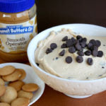 Peanut Butter Tagalong Party Dip finished with cookies & jar 3