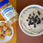 Peanut Butter Tagalong Party Dip finished with cookies & jar flatlay
