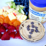 Peanut Butter Tagalong Party Dip finished with fruit and jar 2