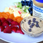 Peanut Butter Tagalong Party Dip finished with fruit and jar