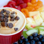 Peanut Butter Tagalong Party Dip finished with fruit