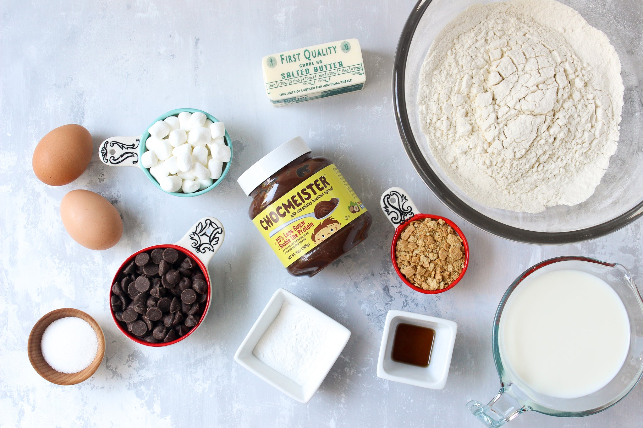 Chocolate Hazelnut Waffle S'mores - Ingredients