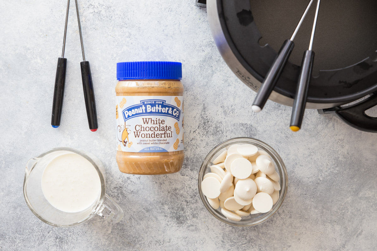3 Ingredient White Chocolate Peanut Butter Fondue Ingredients