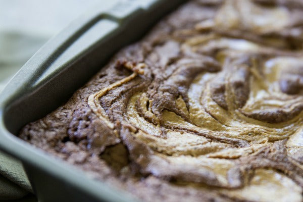 Almond & Cashew Butter Swirled Brownies Finished Pan